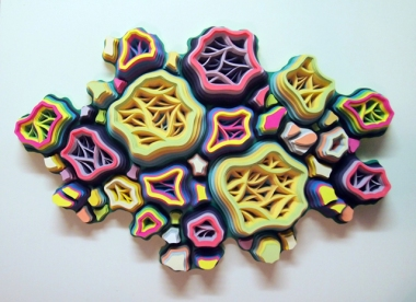 "Patiflasmic Flamungle Gestation Movement #5, Hand cut paper and acrylic on panel, 24"" x 24"" x 7"", 2014"